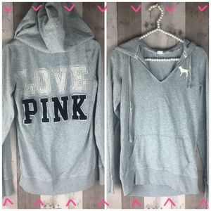 Victoria's Secret Pink Gray 'Love Pink' hoodie XS